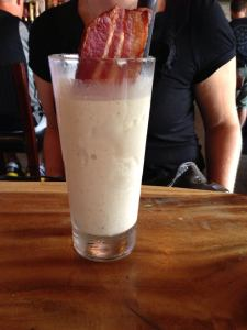 "Post race wrap up at ""Town Hall"" in Ohio City. This is a pistachio ice cream milk shake with bacon and bourbon. Also known as heaven."