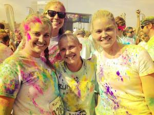 "Post-race dye fest. We ""ran"" into our other Fake cousin Barb!"