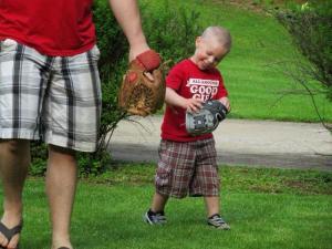 My little guy sure loves baseball!