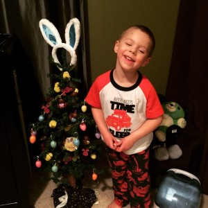 Mack and his Easter tree in his room :)
